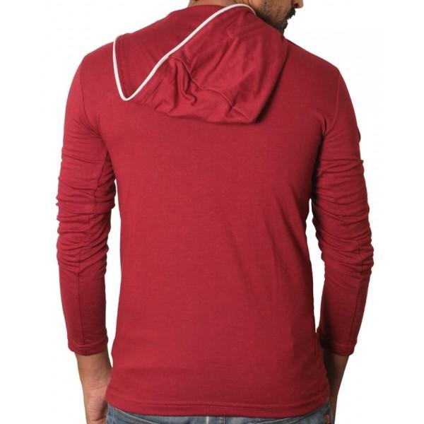 Home   Maroon Side Zipper Hoodie Style Full Sleeves T-Shirt
