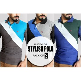 Pack Of 3 Multicolor Stylish Full Sleeves Polo Shirts PS-2313