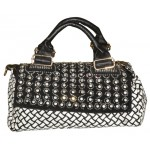 Black And White Diamante Duffel Handbag