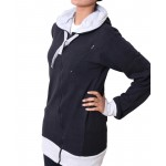Black Warp Zipper Ladies Pullover Hoodie