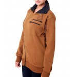 Brown High Collar Fleece Ladies Zipper Mock