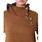 Brown Side Zipper Ladies Pullover Hoodie