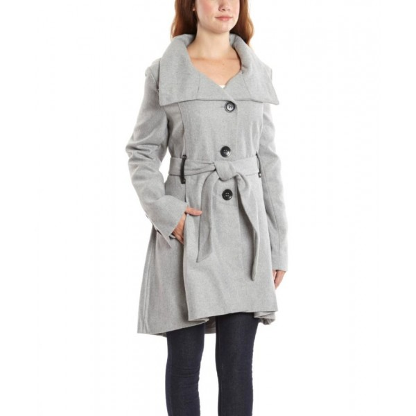 Grey Button Up Ladies Fleece Long Coat