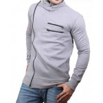 Grey High Collar Winter Zipper Mock