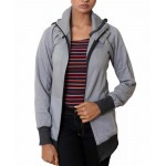 Grey Modern Fashion Ladies Zipper Hoodie