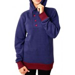 Navy Blue Buttoned Style Ladies Pullover Hoodie