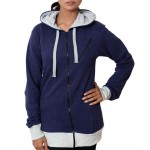 Navy Blue Warp Zipper Ladies Pullover Hoodie