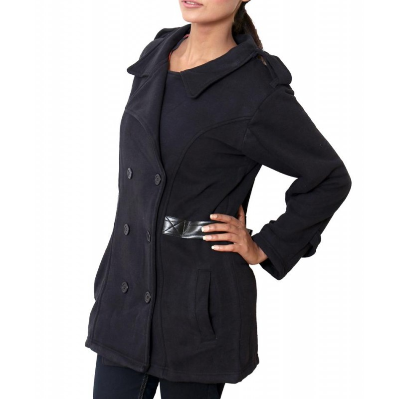 Belt Style Fleece Ladies Black Long Coat