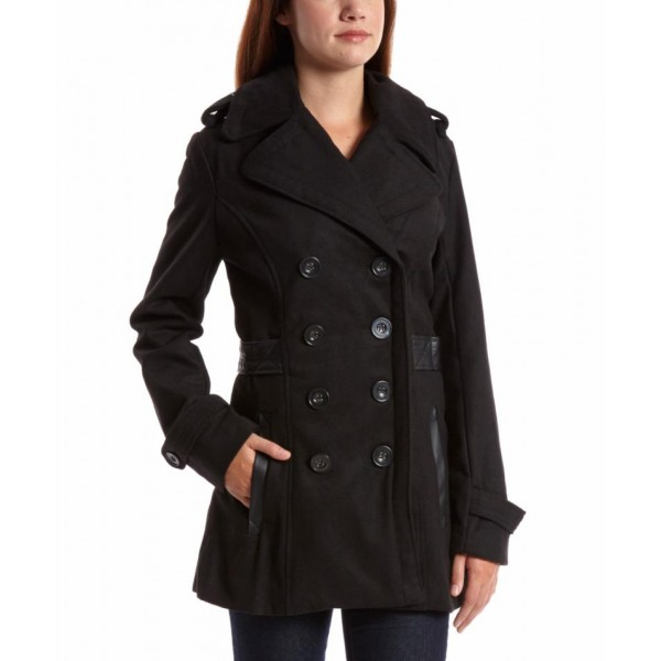 Stylish Fleece Ladies Black Long Coat