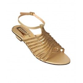 Shiny Gold Diamante Decoration Strappy Sandals