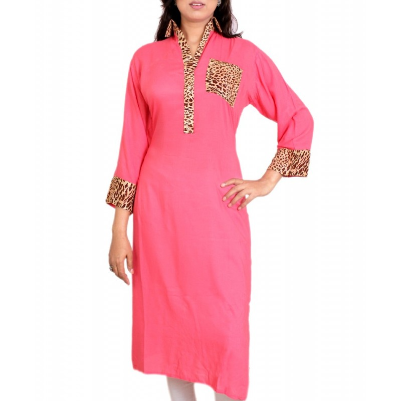 e458d7fc1c0e Buy Pink Leopard Pocket Stylish Ladies Kurta Online In Pakistan-Shopism.pk