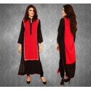 Black And Red Malai Lawn Box Tunic Kurta