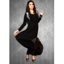 Black Koti Style Georgette Kurta with Embroidery