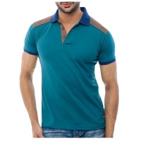 Sea Green And Brown Polo Shirt