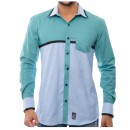 Light Sea Green And Gray Contrast Shirt