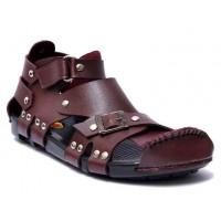 Maroon High Ankle Straps Sandal