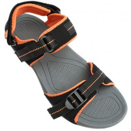 Black Orange Tri Strap Stylish Casual Sandal