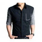 Black And Gray Contrast Shirt With Stylish Pocket