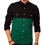 Black And Green Contrast Double Pocket Shirt