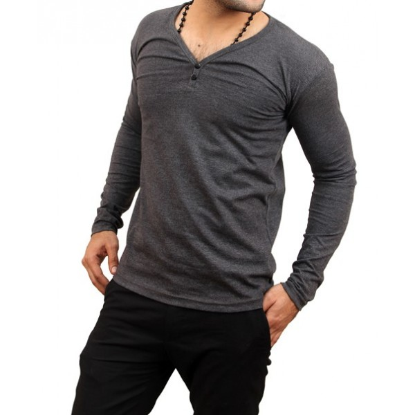Charcol V Neck Full Sleeve T-Shirt