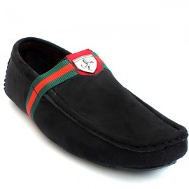Black Stitched Velvet Loafer Shoes
