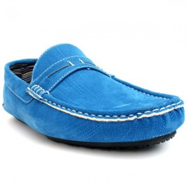 Blue Stitched Style Loafer Shoes