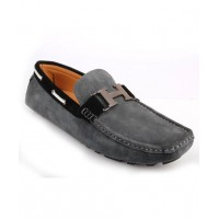 Dim Gray Loafer Stitched Shoes