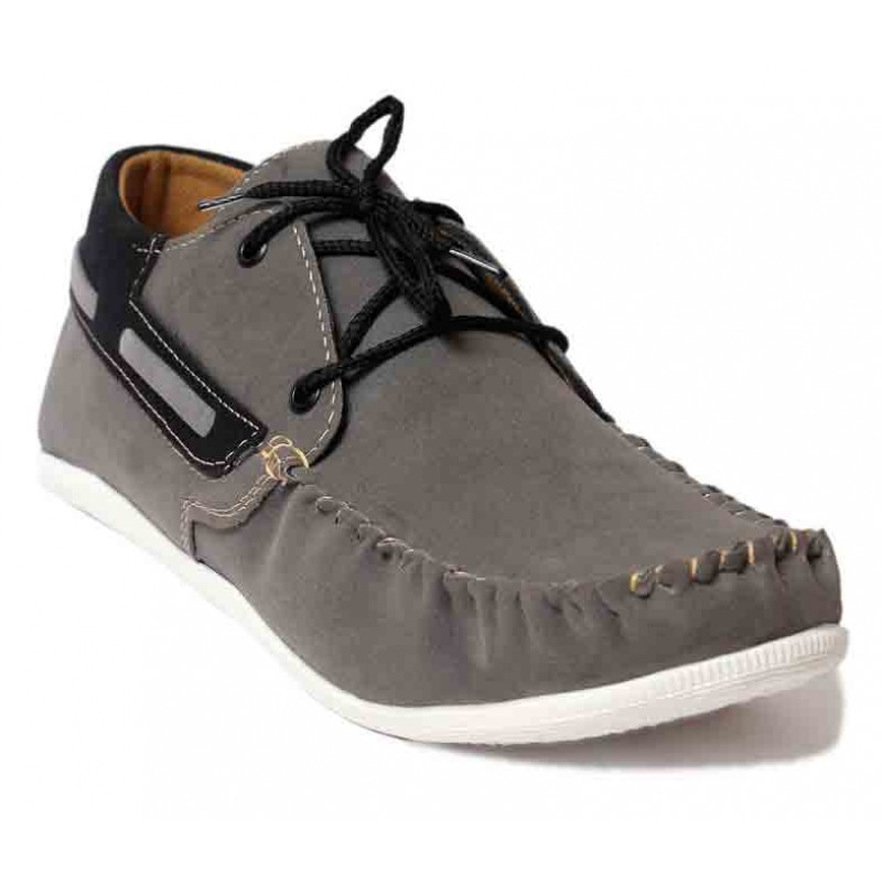 Grey Stylish Laces Loafer Shoes