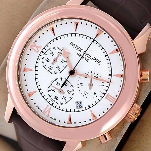 Patek Philippe Geneve Half Roman Rose Gold Watch