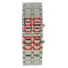 Red Led White Chain Faceless Watch