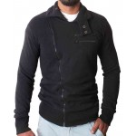Black High Collar Winter Zipper Mock