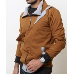 Brown Checkered Collar Designer Flap Mock