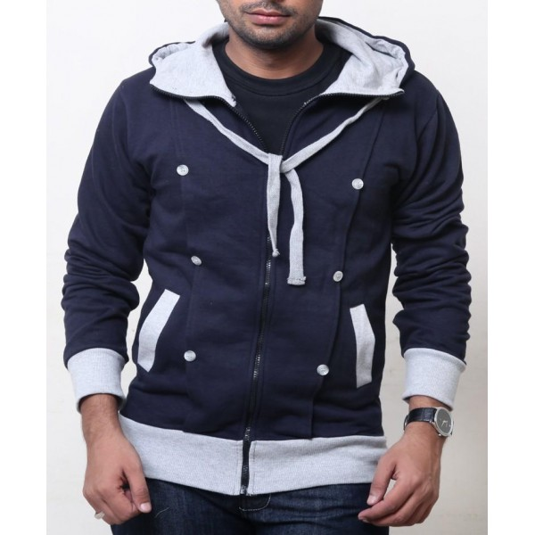 Buttoned Pannel Design Pullover Hoodie