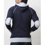 Grey Contrast Navy Blue Fashion Hoodie