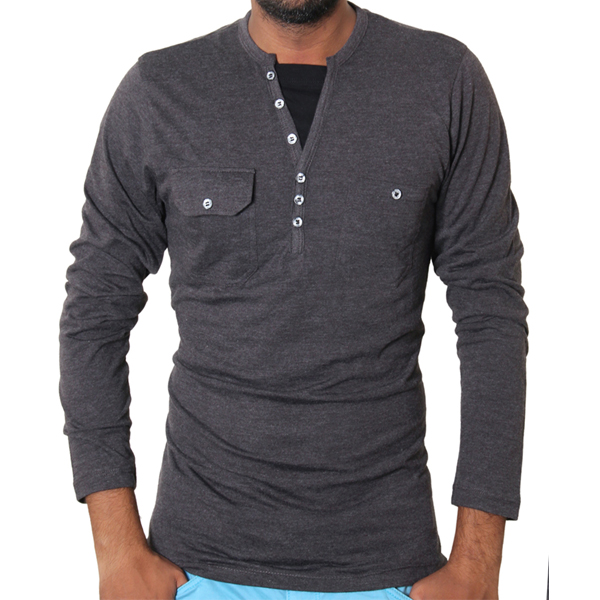 Henley Style Charcoal Double Pocket Full Sleeve T-Shirt